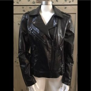 MICHAEL Michael Kors black shiny motorcycle jacket